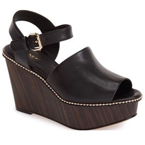 COACH HARLA BLACK WEDGES